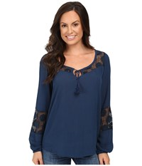 Roper 0445 Crepe Top Blue Women's Clothing