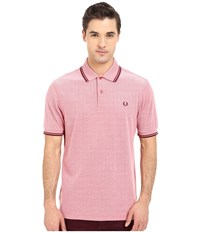 Twin Tipped Fred Perry Polo Washed Red Oxford Crushed Berry Port Men's Short Sleeve Pullover Pink