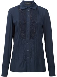 Yigal Azrouel Lace Inset Shirt Blue