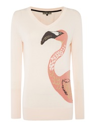Biba Flamingo Placement V Neck Jumper Light Pink