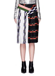 Emilio Pucci Geometric Print Patchwork Pleated Skirt Multi Colour