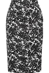 Michael Kors Floral Print Stretch Cotton Skirt Black