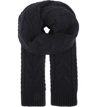 Reiss Hendy Chunky Cable Knit Scarf Navy