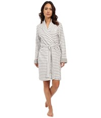 Lauren Ralph Lauren Short Shawl Collar Robe Stripe Grey Heather White Women's Robe Gray