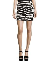 Marc Jacobs Sequined Zebra And Checker Miniskirt Black