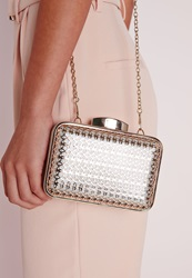 Missguided Gold Caged Box Clutch Gold