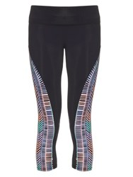 Mara Hoffman Voyager Print Panel Performance Leggings Black Multi