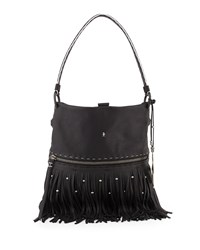 Andy Leather Fringe Shoulder Bag Black Henry Beguelin