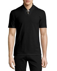 Maison Martin Margiela Button Detail Short Sleeve Polo Shirt Black