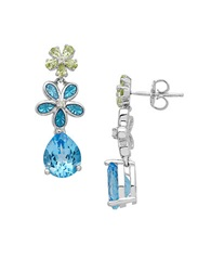 Lord And Taylor Sterling Silver Blue Topaz White Topaz And Peridot Earrings Multi