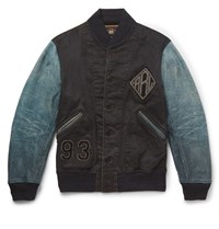 Rrl Kehoe Nubuck Panelled Appliqued Cotton Twill Bomber Jacket Navy