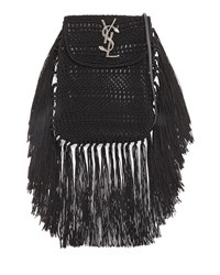 Anita Fringe Crochet Leather Small Crossbody Bag Black Women's Saint Laurent