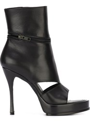Ann Demeulemeester Cut Out Zipped Booties Black