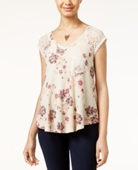 American Rag Printed Waffle Knit Lace Trim Top Only At Macy's Floral Print