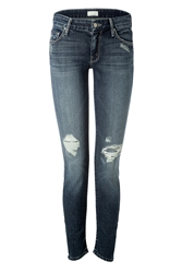 Mother The Looker Skinny Jeans In Blue Destroyed