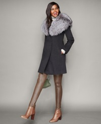 The Fur Vault Fox Fur Collar Wool Walker Coat