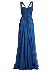 Maria Lucia Hohan Akilah Silk Mousseline Pleated Gown Blue