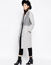 Asos Coat In Cocoon Fit With Panel Detail Grey