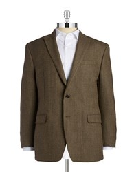 Lauren Ralph Lauren Striped Two Button Wool Jacket Tan Olive