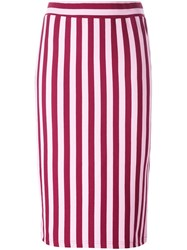 House Of Holland Striped Fitted Skirt Pink And Purple