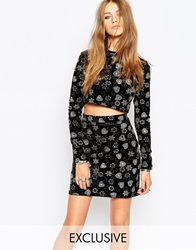 Reclaimed Vintage High Neck Velvet Crop Top In Glitter Print Co Ord Black