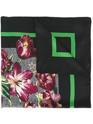 Dolce And Gabbana Tulip Print Scarf Black