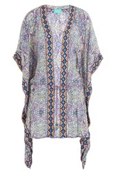 Taj Printed Silk Kaftan With Beaded Trim Multicolor