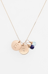 Nashelle Blue Quartz Initial And Heart 14K Gold Fill Disc Necklace Royal Blue And Ocean Blue E