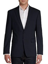 Calvin Klein Extreme Slim Fit Checked Stretch Wool Sportcoat Blue