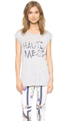 Haute Hippie Rolled Sleeve Haute Mess Tee Light Heather Grey Coal Ink
