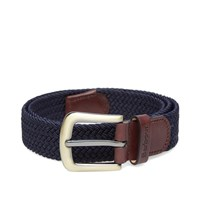 Barbour Stretch Webbing Leather Belt Blue
