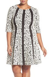 Gabby Skye Plus Size Women's Floral Jacquard Fit And Flare Dress
