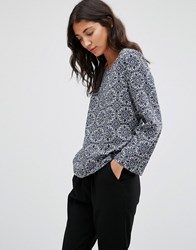 Jdy Printed Long Sleeve Top Maza Blue