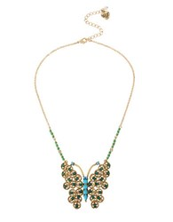 Betsey Johnson Butterfly Pendant Necklace Blue