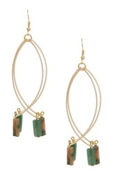 Aventurine And Moss Agate Bar Drop Double Sway Earrings Green