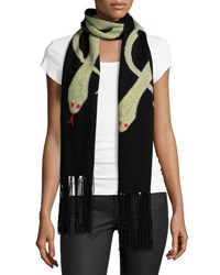 Rockins Snakes Wool Blend Fringe Scarf Gold Black