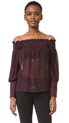 Yigal Azrouel Floral Paisley Off Shoulder Pleated Top Bordeaux Multi