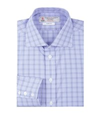Turnbull And Asser Checked Grid Slim Shirt Male Blue