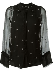 Jupe By Jackie Sheer Floral Embroidered Shirt Black