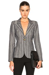 Smythe Tweed Duchess Blazer In Stripes Gray Stripes Gray
