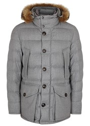 Moncler Rethal Fur Trimmed Quilted Wool Jacket Light Grey