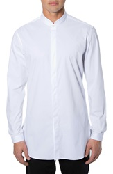 7 Diamonds 'Brightside' Longline Mandarin Collar Woven Shirt White
