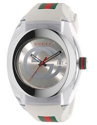 Gucci Unisex White Sync Stainless Steel And Rubber Watch 46Mm