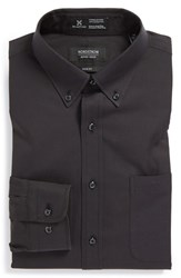 Men's Big And Tall Nordstrom Smartcare Wrinkle Free Solid Pinpoint Cotton Trim Fit Dress Shirt Black