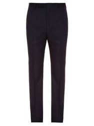 Gieves And Hawkes Slim Leg Wool Trousers Navy