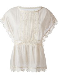 Red Valentino Lace Trim Blouse Nude And Neutrals