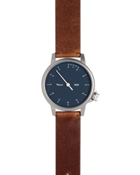 Miansai Stainless Steel Watch With Leather Strap Brown