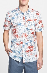 Rip Curl 'Reverse' Trim Fit Short Sleeve Palm Print Woven Shirt White