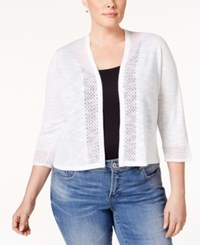 Charter Club Plus Size Three Quarter Sleeve Crocheted Trim Cardigan Only At Macy's Bright White