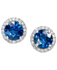 Effy Collection Velvet Bleu By Effy Diffused Sapphire 2 Ct. T.W. And Diamond 1 5 Ct. T.W. Circle Stud Earrings In 14K White Gold